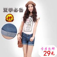 2014 summer women's loose plus size roll-up hem denim shorts hole female