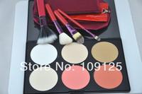 4 pcs Red double lip brush sets  Face Powder Makeup Blush + 6 Colors Contour Palette brush kit cosmetic P602