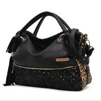 2014 autumn large capacity tassel leopard print paillette rivet bag messenger bag leather handbag famous Brand totes
