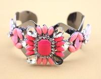 high quality 2014 fashion jewelry new design luxury rhinestone pink color shourouk cuff bracelet bangle for women