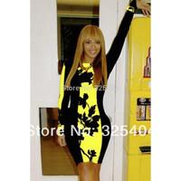 Black Yellow Leaf Print Colorblock Bodycon Midi Dress D6229-2