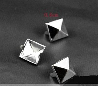 Retail 200pcs/lot 6mm Silver Pyramid Studs Iron Prong Rivet Claw Beads Punk Rock Spike Cellphone Decoration Free Shipping