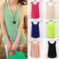 2014 Fashion Summer Women's Clothes Chiffon Sleeveless Causal Chiffon blouse Sundress 13 colors ,Free Shipping DropshippingF3325