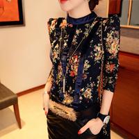 S-XXL free shipping new 2014 spring&winter print lace velvet basic shirt casual full sleeve o-neck women blouse velour blusas