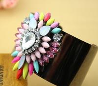 fashion trendy 2014 new gunmetal plated shourouk style crystal big bangle resin cuff bracelet for women
