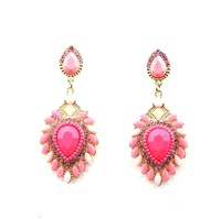 fashion trendy 2014 new design elegant lovely crystal glass luxury pink party jewelry drop earrings for women