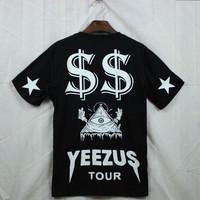 Yeezus west coast jr gd men's hiphop clothing short-sleeve T-shirt