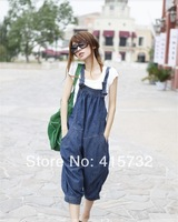 Free Shipping 2014 New Fashion Loose Casual Denim Bib Pants Harem Jumpsuit And Rompers Summer Plus Size Jeans Capril With Pocket