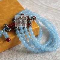 Natural blue chalcedony 108 fozhu jiang mochu bracelet transhipped rosary birthday gift