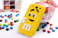 Novelty Cute M&M Chocolate Candy Color Rainbow Bean Design Silicone Soft Case for Samsung Galaxy S3 i9300  item,10color