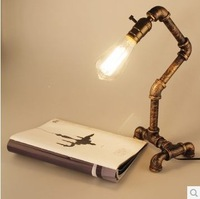 2014 new style industrial retro lights pipe desk lamp lights  with edison bulb inside individual