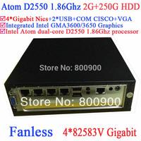 Embeded mini pc fanless Atom dual core D2550 1.86Ghz 4*82583V Gigabit Nics Wake on LAN 12V DC 2G RAM 250G HDD Windows or Linux