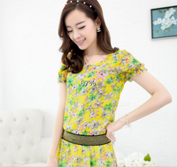 2014 spring and summer short-sleeve shirt chiffon one-piece dress