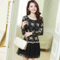 2014 spring and summer one-piece dress embroidery one-piece dress slim women's