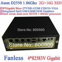 low power pc fanless with Intel Atom dual-core D2550 1.86GHz 4*82583V Gigabit LAN Wake on LAN 12V 2G RAM 16G SSD Windows Linux