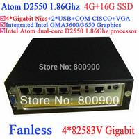 Cheapest nuc pc fanless server Intel Atom dual core D2550 1.86Ghz 4*82583V Gigabit Nics Wake on LAN 12V DC 4G RAM 16G SSD