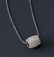 Silver Tone Round Pendant Necklace Chain ls