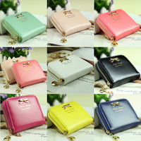 2014 New fashion lady women Zipper lovely purse clutch wallet short small bag PU card hold Free Shipping
