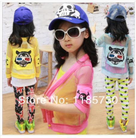 Menino Mini Baby Girl Moda impresso desenhos animados Tiger Head manga comprida Cardigan Protetor solar Camisa de Nova Verão 2014 crianças(China (Mainland))