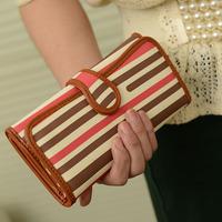 2014  long design strap buckle stripe wallet women's wallet trend vintage