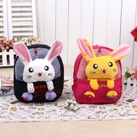 Double-shoulder baby school bag child cartoon bag canvas casual backpack