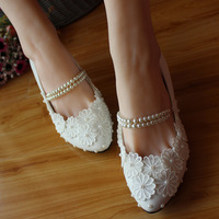 2014 white lace pearls handmade beaded strap shoes bridesmaid bride wedding shoes