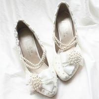 Handmade white lace bride wedding shoes pearl chain hasp crystal shoes bridesmaid shoes