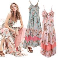 Women's Floral Sleeveless V Neck Ankle Length Pleated Tiered Maxi Slip Dress Bohemian Women Dress Print Lady Dresses 1PCS/LOT
