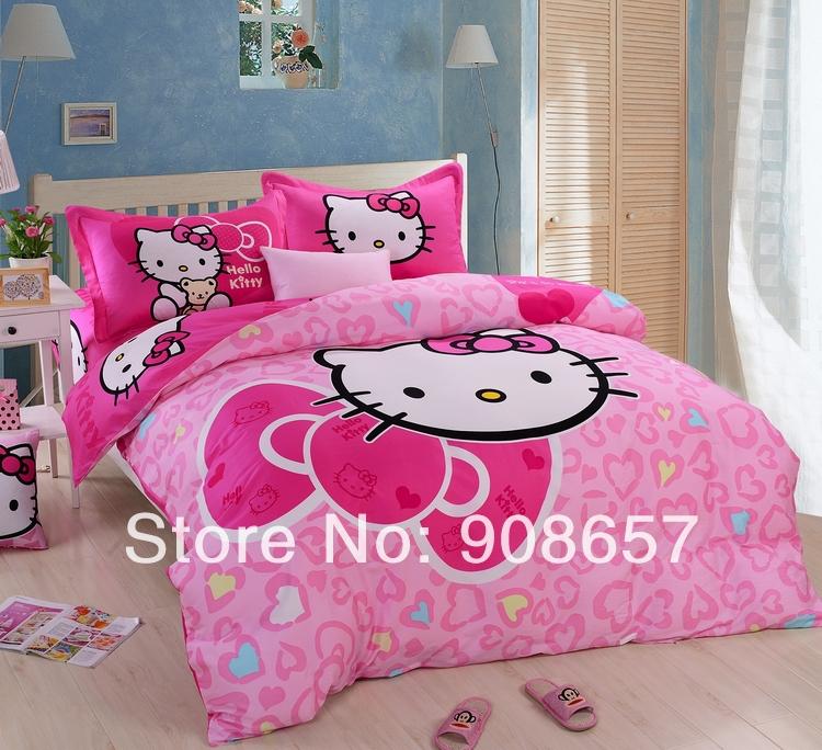 pink heart shaped hello kitty printed comforter set single twin full