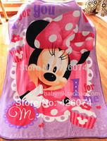 New 2014 Genuine Minnie Mouse  Cartoon Plush Throw, Coral Fleece Fabric Blanket Free Shipping