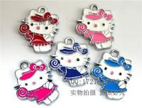 Mix 20x15mm wholesale KT cat DIY mobile phone pendants, bow lollipop hello kitty stuff bulk charms, bijouterie deals of the day