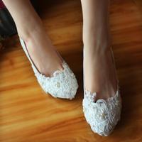 bridal  princess white handmade high-heels  single  lace bridesmaid wedding  shoes female shoes