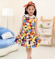 2014 New Arrival Girl's Sweet Sleeveless One-piece Dress Children's Summer Clothing Fashion Chiffon Princess Dress Free Shipping