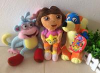 "Free shipping 3pcs/lot 25cm=9.8"" Dora the Explorer Plush toys Doll,Dora + Boots Monkey + Swiper Fox Plush Toys brinquedos"