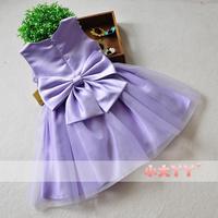 Purple bow child princess dress female child puff dress wedding dress formal dress party evening Dress