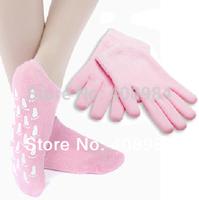 Free Shipping Soft Spa Gel Socks for beautiful feet/Moisturizing Treatment Gel Spa Socks (1 pair glove+1pair socks)