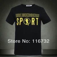 Free shipping 2014 new brand dirk bikkembergs DB sport 100% Cotton Mens slim T-Shirt solid colour sports men pattern shirt