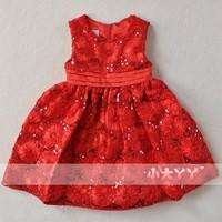 2014 spring child princess dress flower girl formal dress female child paillette wedding dress child piano costume