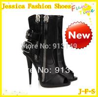 Hot Sale!!! big buckles 2 side zippers Black PU leather thin  high  heels peep toe ankle  women fashion boots