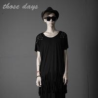 Those days man HARAJUKU 2014 costume tassel copper short-sleeve T-shirt punk style, free shipping