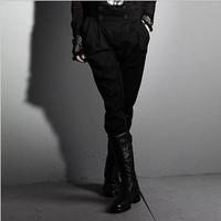 2014 men's punk style super cool plus size  double breasted cummerbund slim aesthetic harem pants trousers boot cut culottes