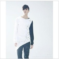 MEN long-sleeve t-shirt batwing loose non-mainstream men's clothing round neck T-shirt spring and summer plus size 3xl