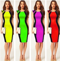 New Women Summer Fashion Sexy Celeb Patchwork Bandage Pencil Dress Ladies Short Sleeve Sheath Evening Bodycon Clubwear Dress