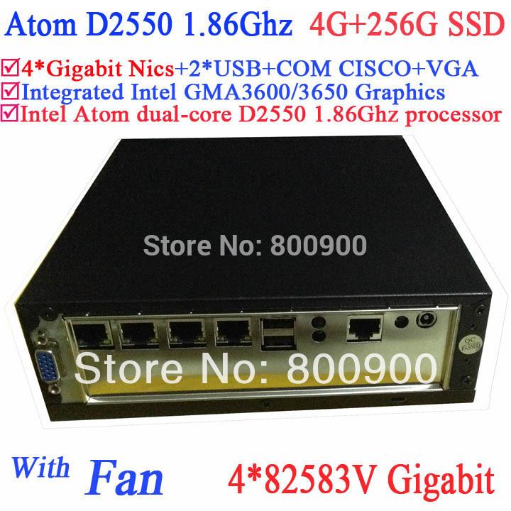 mini pc for server with Intel dual core D2550 1.86Ghz 4*82583V Gigabit LAN Wake on LAN Watchdog 4G RAM 256G SSD Windows Linux(China (Mainland))