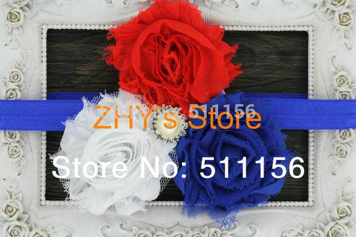 10pcs/lot 4th of July Headband Patriotic Headband Red White Blue Shabby Flowers Pearl Rhinestone FOE Elastic Headbands for Kids(China (Mainland))