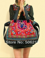 Newest National Ethnic Embroidered Bags Vintage Women's Canvas Embroidery Messenger Shoulder Fashion Big size Casual Handbags