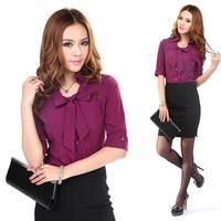 [20pcs-FREE SHIP] Summer bow women's purple slim shirt white ol work wear shirt work wear skirt tooling  wholesale for waiter
