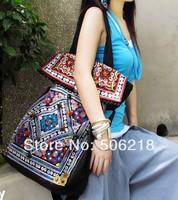 Newest Original Ethnic Embroidered Bags Black Thick Canvas Embroidery Messenger Shoulder Travel Bag Fashion Women Big Handbags