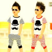 2014 Boy Outfits Children Clothing Sets Suits hat mustache tee tops striped pants Kid T Shirt+Capris