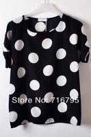 Women Cheap 2014 Oversize Polka Dot Chiffon Top  Shirt Free Shipping